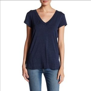 NWT! H by Bordeaux double v neck tee in navy, XS